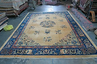 Antique Chinese Ningshia Ningxia Peking Hand Knotted Wool Rug 9 X11