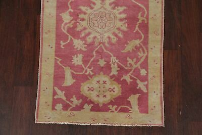 Antique Look PINK Oushak Egyptian All-Over Rug Vegetable Dye Hand-Knotted 3'x5' 5