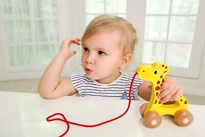Arrastre para Bebe de Madera Jirafa juguete para arrastrar con cuerda iwood 2