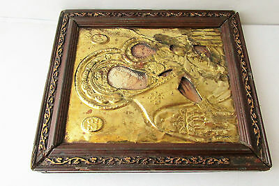 Antique Russian icon with gilded brass oklad (Riza) Virgin and Child 7