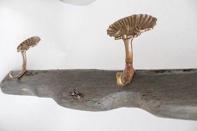antique maritime bog oak wooden sail rack with brass shell hooks 12