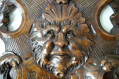 19C Venetian Gothic Fantasy Carved Oak Winged Dragon/Griffin/Gargoyle Pediment 3
