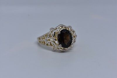 Vintage Genuine Smoky Topaz Deco 925 Sterling Silver Ring 4
