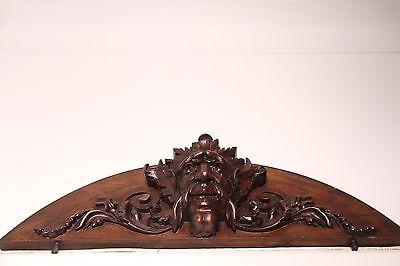 19C French Gothic Fantasy Carved Oak Mythological Gargoyle Mask Pediment PAIR 8