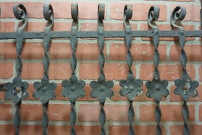 Antique Cast Iron Curly Top Flowers Fence Window Gate Old Architectural Hardware 2