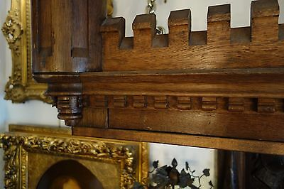 19C English Gothic Carved Oak Castle/Battlement Architectural Fantasy Pediment 12