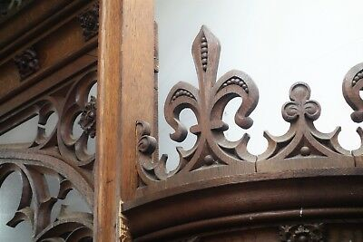 19C English Gothic Spire Curved/Carved Tiger Oak Church Organ Surround 5