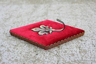 Lovely Vintage Mid Century Coat Hook Fleur De Lis Lys Red Velvet and Brass 3