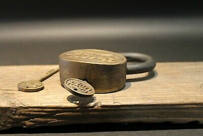 Antique Vintage Style Brass & Iron Trunk Chest Box Ford Lock Padlock 11