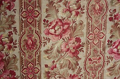 Fabric Antique Floral French printed cotton circa 1860 twill weave muted tones 2