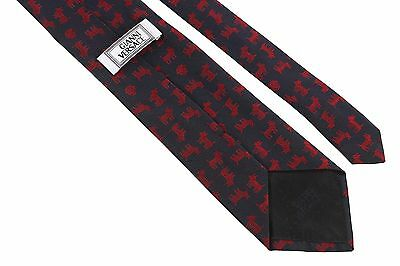 NEW Gianni Versace Men/'s 100/% Silk Neck-tie Navy Blue Twill//Red Dogs Emblems