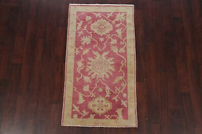 Antique Look PINK Oushak Egyptian All-Over Rug Vegetable Dye Hand-Knotted 3'x5' 3