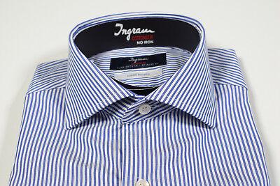 online store 85bea 7fca5 CAMICIA INGRAM MODA slim fit a righe Azzurro Cotone doppio ritorto No Stiro