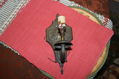 Antique Victorian Sconce Wall Mounted Electric Light Fixture-Brass Metal 9