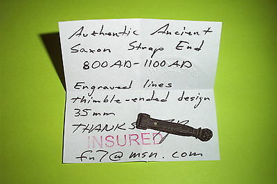 SUPERB Authentic SAXON STRAP END thimble ended engraved artifact medieval enamel 4