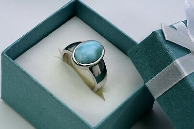 Larimar Beautiful 12X9mm 6.5ct Natural Solid .925 Sterling Silver Ring Size 7 2