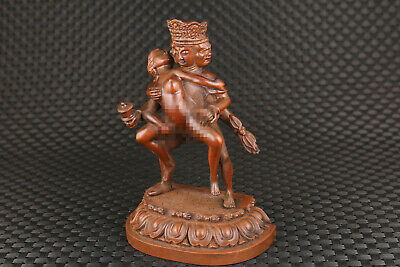 Rare Chinese rare bronze Tibet belle buddha statue figure table decoration 5