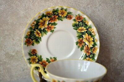 TEACUP and SAUCER SET - Royal Albert Fragrance Series MARGUERITE Flower, England 6