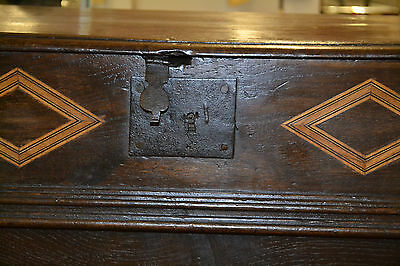 Fine quality antique 18th century Oak bible box with inlay on later stand, c1760 4