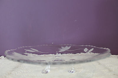 """Beautiful Clear Glass 10-1/2"""" 3-Footed Serving Plate - Floral Etched 2"""
