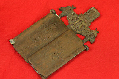 Old Antique Original Folding Russian Brass Bronze Travel Icon Tryptich 5