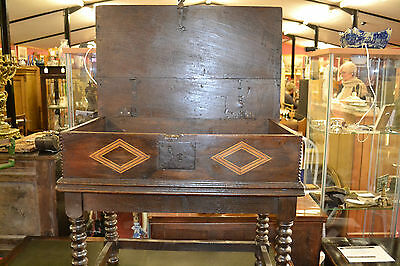 Fine quality antique 18th century Oak bible box with inlay on later stand, c1760 6