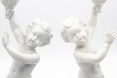 Germany 1930, Schaubach Kunts White Porcelain Pair Of Candle Holders Nice!!! 3