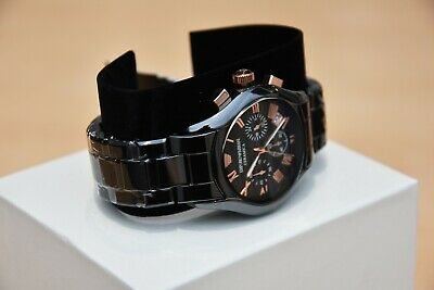New Emporio Armani Men's Watch Ar1410 Black/Rose Gold Ceramica Chronograph 10