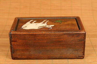 Chinese wood hand carving cow statue inlay conch box secret button open rare 3