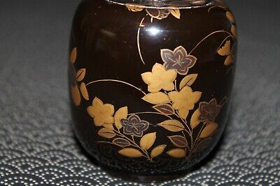 VTG Japanese wooden lacquer Gold makie Natsume tea caddy w/box from Japan b098 4