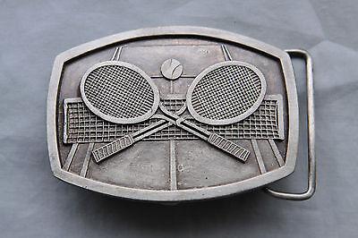 Vintage Indiana Metal Craft Tennis Rackets Belt Buckle 1977 2