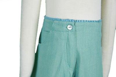 JACADI Girls Cornet Pale green 3/4 Pants w/ Floral Embroidery Sz 8 Years NWT 3