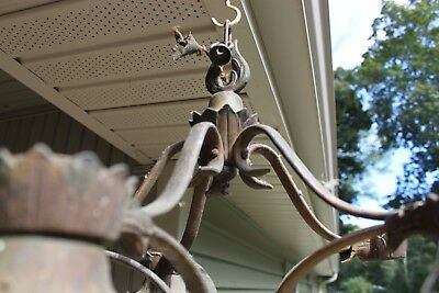 "Antique brass Victorian hanging 5 arm Light  Ceiling Chandelier 19"" wide repair"