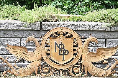 19C Solid Bronze Winged Griffin Fantasy/Mythological Architectural Pediment 9