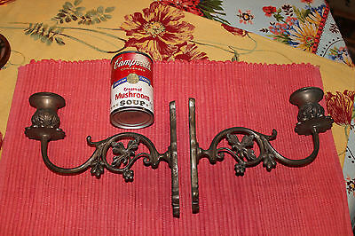 Superb Victorian Style Wall Mounted Candlestick Holders-Pair-Flower Design-LQQK