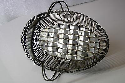 Korb mit Henkel geflochten, Metall, sehr schönes Muster 40er 7