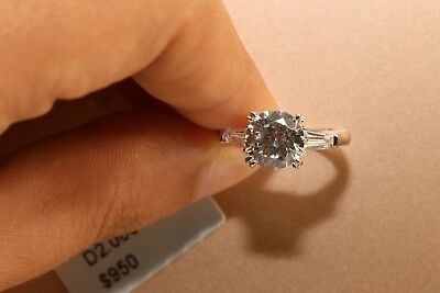 2 Ct Round Cut Diamond Solitaire Engagement Ring 14K White Gold Enhanced 9