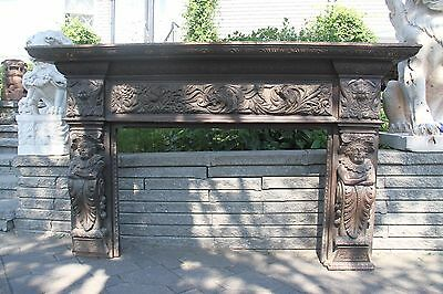 19C English Carved Oak Figural Jester Griffin/Gargoyle/Dragon Fireplace Mantel 2