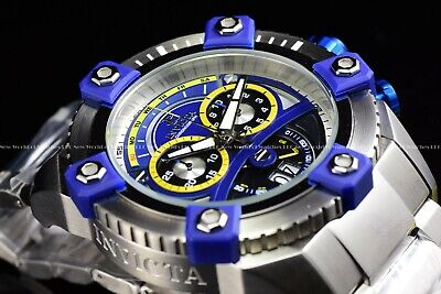 "Invicta 63mm Reserve Grand Octane Arsenal ""PINNACLE"" Swiss Silver Blue SS Watch 8"