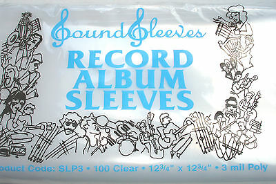 """100 Poly Outer Sleeves 3 Mil High Quality 12"""" Record LP Album Cover 33 RPM Vinyl 2"""