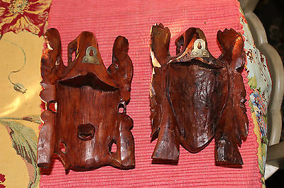 Stunning Chinese Wood Carved Opera Masks-Pair-Highly Detailed-Man & Woman-LQQK 10
