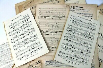 ~~100g OF VINTAGE MUSIC SHEETS - CHRISTMAS CRAFTS. DECOUPAGE CARD MAKING 6