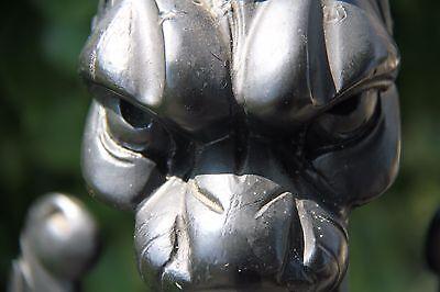 19C French Fantasy Gothic Carved Oak Lamps Griffin/Gargoyle/Dragon 12