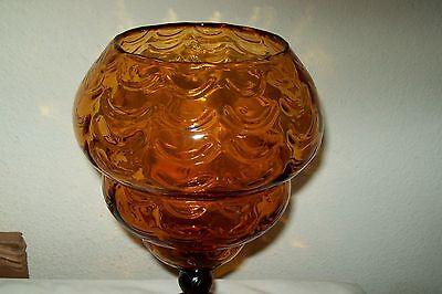 Pretty Amber 12'' Tall Blown Glass Vase Display Draped Pattern