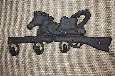 "(1) Cowboy Horse Hat And Coat Hook, Cast Iron 12 1/2"", Vintage-Look Cowboy,w-12 2"