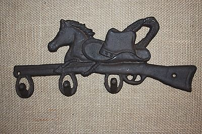 "(4) Cast Iron Farm And Ranch Wall Hook, Cowboy Hat Horse Design, 12 1/2"",w-12 2"