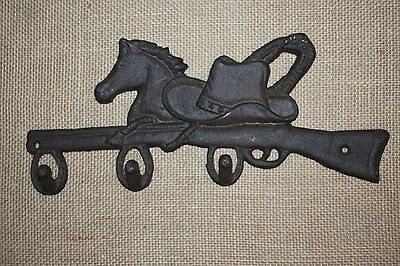 """(4) Cast Iron Farm And Ranch Wall Hook, Cowboy Hat Horse Design, 12 1/2"""",w-12"""