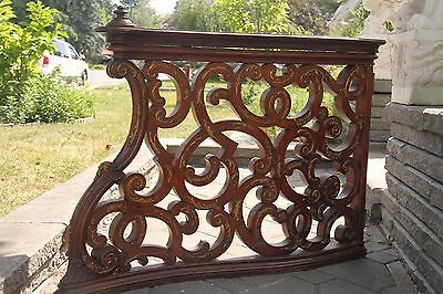 19C Italian Baroque Royal Palace Carved Gilded Oak Serpentine Hand Rail 2