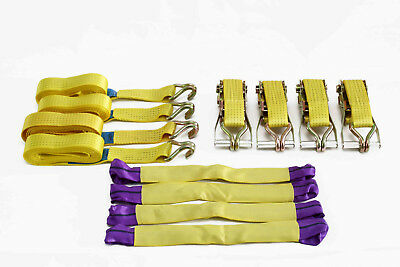 5T (5000Kg) Heavy Duty Recovery Ratchet Straps 4.2m x 50mm and 4x 1T Wheel Links 8