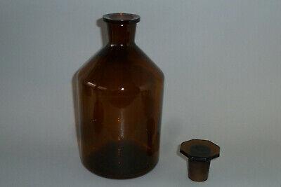Alte Apothekerflasche Braunglas mit achteckigem Glasstopfen 1000ml W292 3
